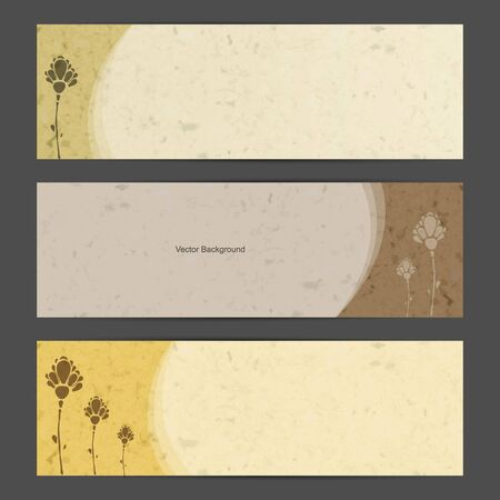 Nature banner set with flower silhuoette Vector