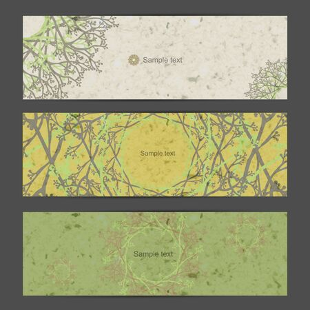 Green nature banner set with grunge paper