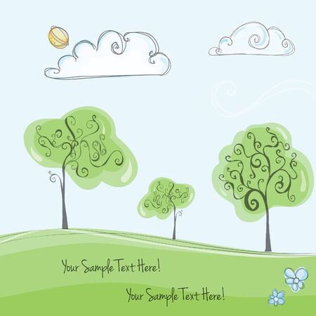 Nature green vector background with trees