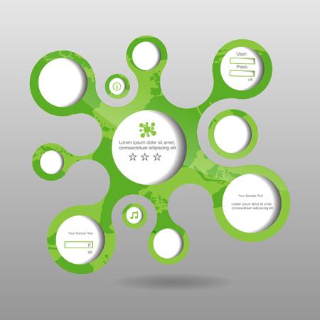 Green nature modern abstract bubble speech set with world pattern Illustration