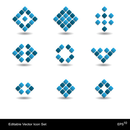 Creative abstract modern icon set with square Vector