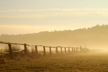 Wooden fence on the pasture of horses with morning mist floating over the ground photo