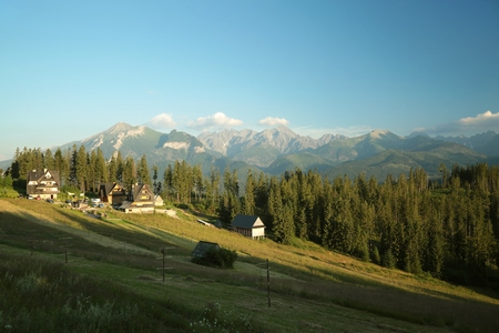 zakopane: Rural landscape in the Tatra Mountains on the border between Polish and Slovakia