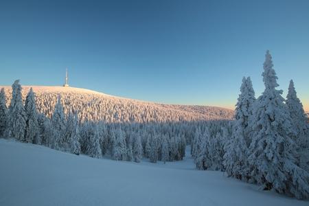 Winter landscape, Eastern Sudetenland in the Czech Republic Stock Photo