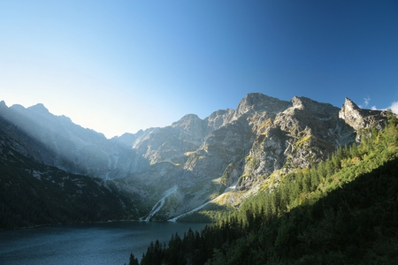morskie: Lake Morskie Oko in the Tatra Mountains Stock Photo