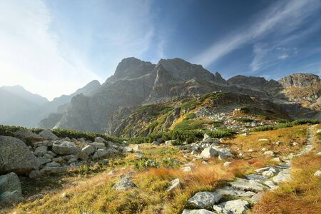 mnich: Trail in the valley leading to the peak in the Tatras