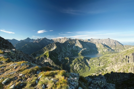 High peaks over the valley in the Tatra Mountains