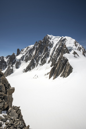 blanche: Mont Blanc du Tacul,Vallee Blanche, Mont Blanc Massif, Chamonix, France Stock Photo