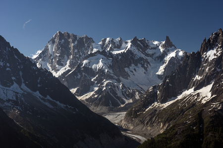 dent: View from the Aiguilles Rouges National Nature Reserve, the peaks Grandes Jorasses and Dent du G�ant, Chamonix, Haute-Savoie, France Stock Photo