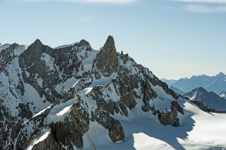 blanche: Morning light in the Alps, Le Dent du Geant and valle Blanche, Mont Blanc massif, Chamonix, Haute-Savoie, France