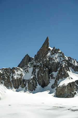 dent: Morning light in the Alps, Le Dent du Geant and valle Blanche, Mont Blanc massif, Chamonix, Haute-Savoie, France