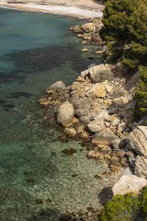 Between Altea and Calpe the Mascarat area with its turquoise water coastline, Altea, Costa Blanca, Alicante province, Spain Фото со стока