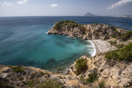 Between Altea and Calpe the Mascarat point area with its turquoise water beaches, Altea, Costa Blanca,Alicante province,Spain Stock Photo