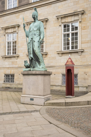Statue of Minerva at Christiansborg palace , in Roman mythology, is the goddess of war, civilization, wisdom, etc. She is often depicted with an owl, which symbolizes her ties to wisdom, Copenhagen, Denmark
