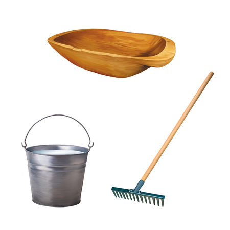 trough: old wooden trough, Metallic bucket with milk, Garden rake isolated on white