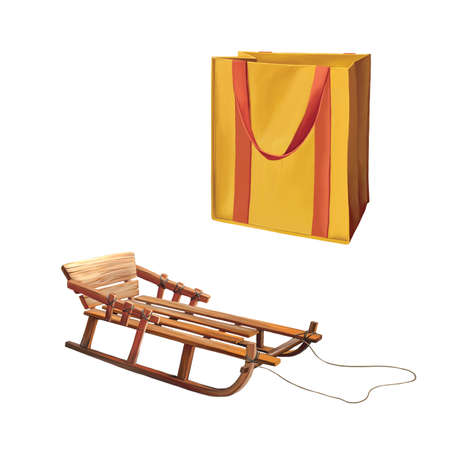 reusable: Reusable shopping bag, Bag for groceries, Wooden Sledge Isolated On White Background