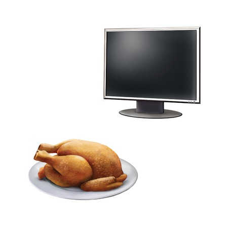 high definition: Realistic illustration of high definition TV screen, Roast Chicken on a plate  isolated on white background
