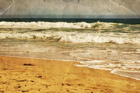 retro vintage: beach, Ocean water with waves. Sea sand shore Stock Photo