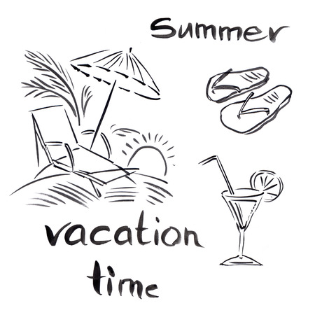 vocation: Black and white illustration of traveling themes, Summer vocation background Stock Photo