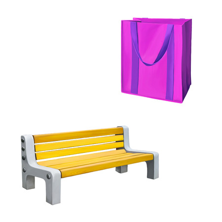 reusable: Reusable shopping bag, Pink Bag for groceries, yellow park bench . Isolated over white background .