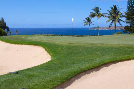 maui: Seaside Golf Hole Stock Photo