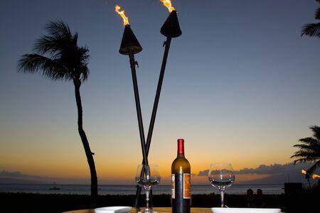 Set For Romantic Seaside Dinner Stock fotó