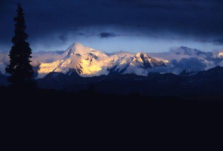 mckinley: Mount McKinley at Sunset Stock Photo