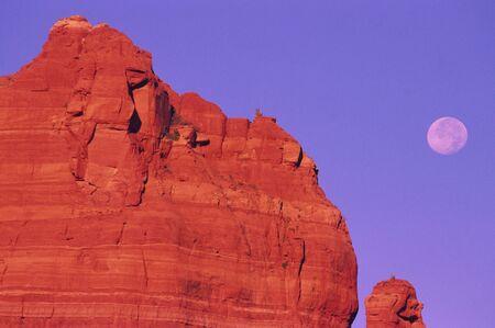 sedona: Sedona Arizona Red Rocks and Full Moon