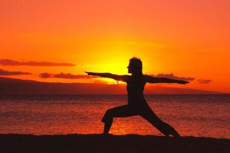 Warrior yoga Pose in Sunset