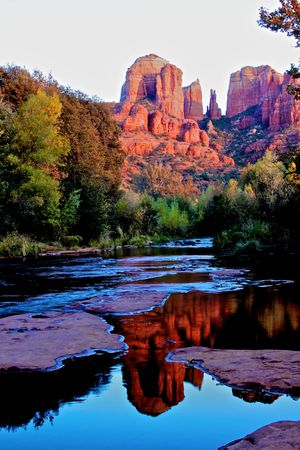 sedona: Cathedral Rock at Sunset Reflected Stock Photo