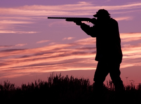 shotgun: Hunter Shooting at Sunrise