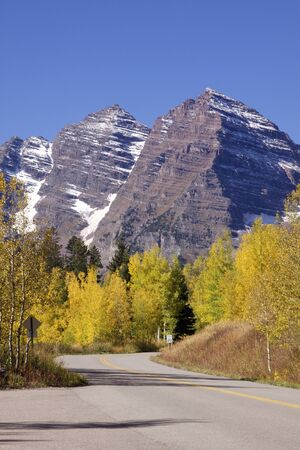 Highway to maroon Bells in fall photo