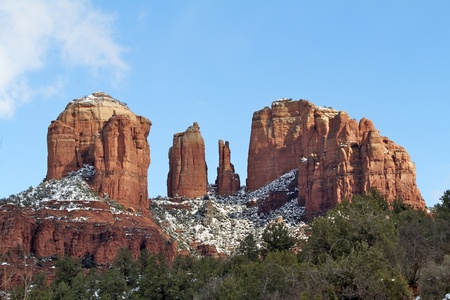 Cathedral Rock and Snow Stock Photo - 12855656