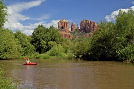 Kayaking Below Cathedral Rock Sedona Arizona photo