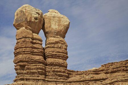 phallic: Navajo Twins Formaci�n de roca Utah Foto de archivo