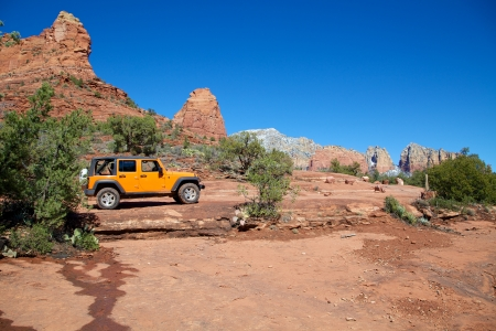 the jeep: Touring Sedona s Red rock Country Stock Photo