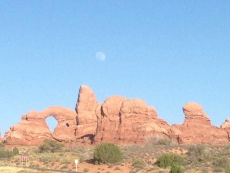 Moonrise Over Arches N P Banco de Imagens