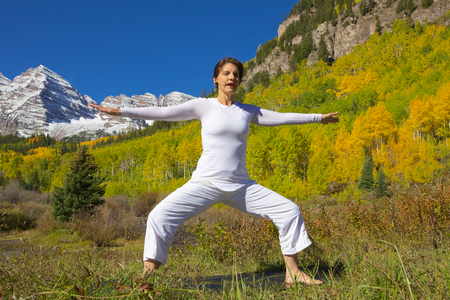 Rocky Mountain Yoga in Fall Imagens