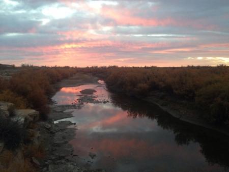 Arkansas River Sunrise Stock Photo