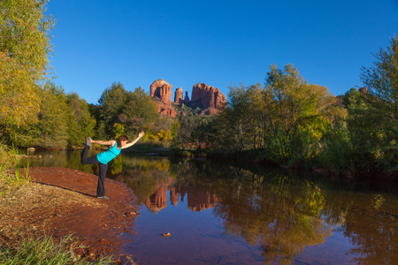 Yoga at Cathedral Rock Stock Photo - 23727624