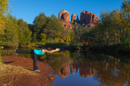 Yoga at Cathedral Rock Stock Photo - 23727625