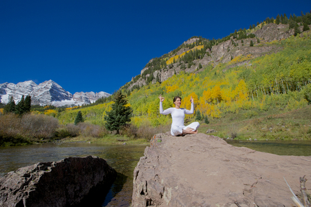 Fall Yoga at Maroon Bells photo