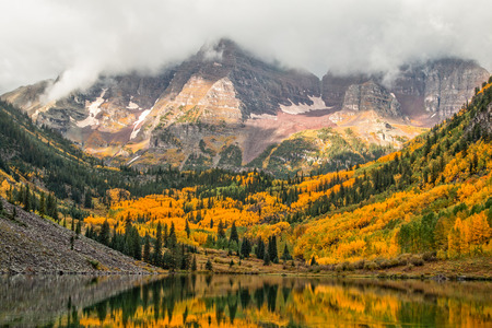 Maroon Bells in Fall Aspen Colorado