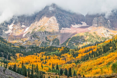 Maroon Bells in Fall Aspen Colorado photo