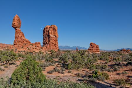balanced rocks: Moonrise Over Balanced Rock Arches National Park