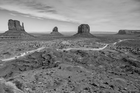 monument valley view: Monument Valley in Black and White