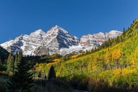 extreme terrain: Maroon Bells Aspen Colorado in Fall Stock Photo