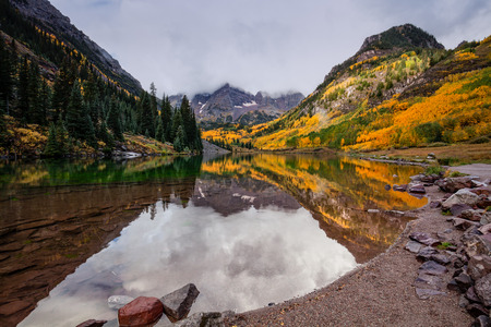 extreme terrain: Maroon Bells Reflection in Fall