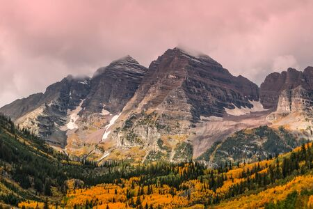 Maroon Bells Aspen Colorado in Fall 免版税图像