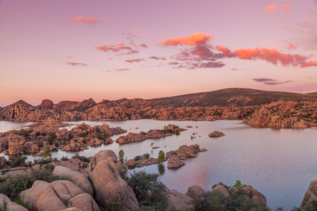 arizona sunset: Sunset Over Watson lake Prescott Arizona